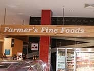 Farmers Fine Foods Cutout letters and glash splashbacks